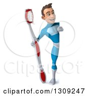 Clipart Of A 3d Full Length Young Brunette White Male Super Hero In A Blue Suit Holding A Giant Toothbrush Around A Sign Royalty Free Illustration
