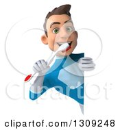Clipart Of A 3d Young Brunette White Male Super Hero In A Blue Suit Brushing His Teeth Around A Sign Royalty Free Illustration