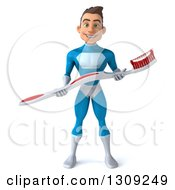 Clipart Of A 3d Young Brunette White Male Super Hero In A Blue Suit Holding A Giant Toothbrush Royalty Free Illustration