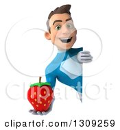 Clipart Of A 3d Young Brunette White Male Super Hero In A Blue Suit Holding A Strawberry Around A Sign Royalty Free Illustration