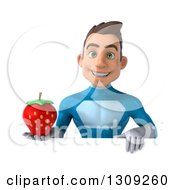 Clipart Of A 3d Young Brunette White Male Super Hero In A Blue Suit Holding A Strawberry Over A Sign Royalty Free Illustration