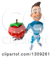 Clipart Of A 3d Young Brunette White Male Super Hero In A Blue Suit Holding Up A Strawberry Royalty Free Illustration