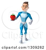 Clipart Of A 3d Young Brunette White Male Super Hero In A Blue Suit Walking And Holding A Strawberry Royalty Free Illustration