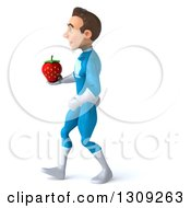 Clipart Of A 3d Young Brunette White Male Super Hero In A Blue Suit Walking To The Left And Holding A Strawberry Royalty Free Illustration