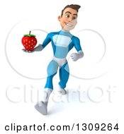 Clipart Of A 3d Young Brunette White Male Super Hero In A Blue Suit Speed Walking And Holding A Strawberry Royalty Free Illustration