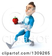 Clipart Of A 3d Young Brunette White Male Super Hero In A Blue Suit Speed Walking To The Left And Holding A Strawberry Royalty Free Illustration