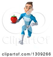 Clipart Of A 3d Young Brunette White Male Super Hero In A Blue Suit Sprinting And Holding A Strawberry Royalty Free Illustration