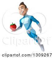 Clipart Of A 3d Young Brunette White Male Super Hero In A Blue Suit Flying And Holding A Strawberry Royalty Free Illustration
