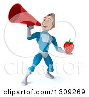 Clipart Of A 3d Young Brunette White Male Super Hero In A Blue Suit Holding A Strawberry And Announcing With A Megaphone Royalty Free Illustration