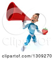 Clipart Of A 3d Young Brunette White Male Super Hero In A Blue Suit Holding A Strawberry And Announcing Upwards With A Megaphone Royalty Free Illustration