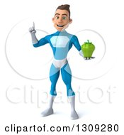 Clipart Of A 3d Young Brunette White Male Super Hero In A Blue Suit Holding Up A Finger And A Green Bell Pepper Royalty Free Illustration