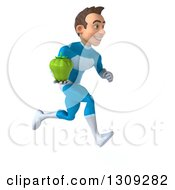 Clipart Of A 3d Young Brunette White Male Super Hero In A Blue Suit Sprinting To The Right And Holding A Green Bell Pepper Royalty Free Illustration