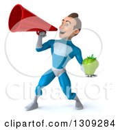 Clipart Of A 3d Young Brunette White Male Super Hero In A Blue Suit Holding A Green Bell Pepper And Announcing With A Megaphone Royalty Free Illustration