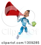Clipart Of A 3d Young Brunette White Male Super Hero In A Blue Suit Holding A Green Bell Pepper And Announcing Upwards With A Megaphone Royalty Free Illustration