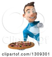 Clipart Of A 3d Young Brunette White Male Super Hero In A Blue Suit Holding A Pizza Around A Sign Royalty Free Illustration