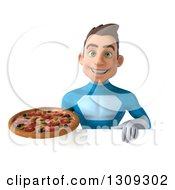 Clipart Of A 3d Young Brunette White Male Super Hero In A Blue Suit Holding A Pizza Over A Sign Royalty Free Illustration