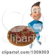 Clipart Of A 3d Young Brunette White Male Super Hero In A Blue Suit Holding Up A Pizza Royalty Free Illustration