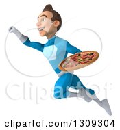 Clipart Of A 3d Young Brunette White Male Super Hero In A Blue Suit Flying Up To The Left And Holding A Pizza Royalty Free Illustration