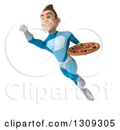 Clipart Of A 3d Young Brunette White Male Super Hero In A Blue Suit Flying And Holding A Pizza 2 Royalty Free Illustration