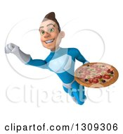 Clipart Of A 3d Young Brunette White Male Super Hero In A Blue Suit Flying And Holding A Pizza Royalty Free Illustration