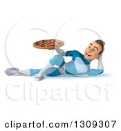 Clipart Of A 3d Young Brunette White Male Super Hero In A Blue Suit Resting On His Side And Holding A Pizza Royalty Free Illustration