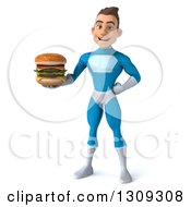 Clipart Of A 3d Young Brunette White Male Super Hero In A Blue Suit Holding A Double Cheeseburger Royalty Free Illustration