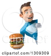 Clipart Of A 3d Young Brunette White Male Super Hero In A Blue Suit Holding A Double Cheeseburger And Looking Around A Sign Royalty Free Illustration