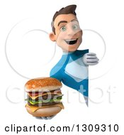Clipart Of A 3d Young Brunette White Male Super Hero In A Blue Suit Holding A Double Cheeseburger Around A Sign Royalty Free Illustration