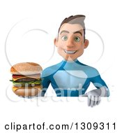 Clipart Of A 3d Young Brunette White Male Super Hero In A Blue Suit Holding A Double Cheeseburger Over A Sign Royalty Free Illustration