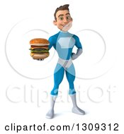 Clipart Of A 3d Young Brunette White Male Super Hero In A Blue Suit Holding Out A Double Cheeseburger Royalty Free Illustration