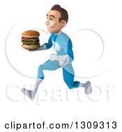 Clipart Of A 3d Young Brunette White Male Super Hero In A Blue Suit Sprinting To The Right And Holding A Double Cheeseburger Royalty Free Illustration