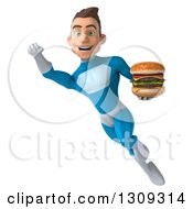 Clipart Of A 3d Young Brunette White Male Super Hero In A Blue Suit Flying And Holding A Double Cheeseburger 2 Royalty Free Illustration