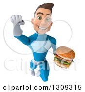 Clipart Of A 3d Young Brunette White Male Super Hero In A Blue Suit Flying And Holding A Double Cheeseburger Royalty Free Illustration