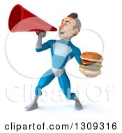 Clipart Of A 3d Young Brunette White Male Super Hero In A Blue Suit Using A Megaphone And Holding A Double Cheeseburger Royalty Free Illustration