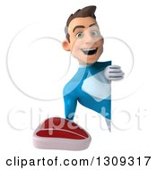Clipart Of A 3d Young Brunette White Male Super Hero In A Blue Suit Holding A Beef Steak Around A Sign Royalty Free Illustration