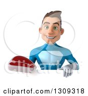 Clipart Of A 3d Young Brunette White Male Super Hero In A Blue Suit Holding A Beef Steak Over A Sign Royalty Free Illustration