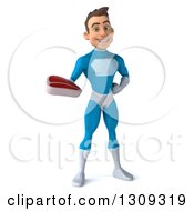 Clipart Of A 3d Young Brunette White Male Super Hero In A Blue Suit Holding A Beef Steak Royalty Free Illustration