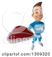 Clipart Of A 3d Young Brunette White Male Super Hero In A Blue Suit Holding Up A Beef Steak Royalty Free Illustration