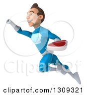Clipart Of A 3d Young Brunette White Male Super Hero In A Blue Suit Flying Up To The Left And Holding A Beef Steak Royalty Free Illustration