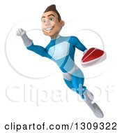 Clipart Of A 3d Young Brunette White Male Super Hero In A Blue Suit Flying And Holding A Beef Steak 4 Royalty Free Illustration