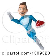 Clipart Of A 3d Young Brunette White Male Super Hero In A Blue Suit Flying And Holding A Beef Steak 3 Royalty Free Illustration