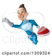 Clipart Of A 3d Young Brunette White Male Super Hero In A Blue Suit Flying And Holding A Beef Steak 2 Royalty Free Illustration