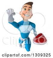 Clipart Of A 3d Young Brunette White Male Super Hero In A Blue Suit Flying And Holding A Beef Steak Royalty Free Illustration