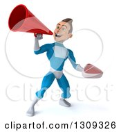 Clipart Of A 3d Young Brunette White Male Super Hero In A Blue Suit Using A Megaphone And Holding A Beef Steak Royalty Free Illustration