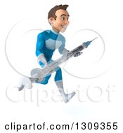 Clipart Of A 3d Young Brunette White Male Super Hero In A Blue Suit Sprinting To The Right And Holding A Giant Vaccine Syringe Royalty Free Illustration