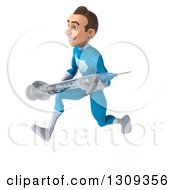 Clipart Of A 3d Young Brunette White Male Super Hero In A Blue Suit Sprinting To The Left And Holding A Giant Vaccine Syringe Royalty Free Illustration