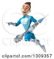 Clipart Of A 3d Young Brunette White Male Super Hero In A Blue Suit Flying Pointing Left And Holding A Giant Vaccine Syringe Royalty Free Illustration