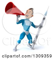 Clipart Of A 3d Young Brunette White Male Super Hero In A Blue Suit Holding A Giant Vaccine Syringe And Announcing With A Megaphone Royalty Free Illustration