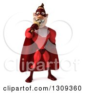 Clipart Of A 3d Muscular White Male Super Hero In A Red Suit Eating A Waffle Ice Cream Cone Royalty Free Illustration by Julos