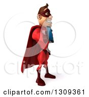 Clipart Of A 3d Caucasian Red Super Hero Man Facing Right And Holding Out A Tablet Or Smart Phone Royalty Free Illustration by Julos